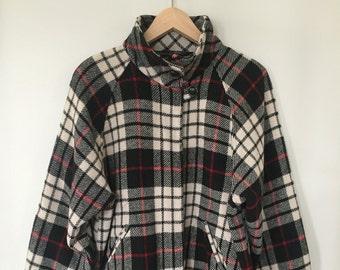 2bf8ff834a0 Vintage Orvis Plaid Wool Shirt Jacket -- Women s Cut -- 1980s -- Black