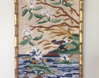 Vintage Fiber Art in Gold Bamboo Frame / River Scene with Trees, Asian Feel / Warm Nature Colors / chinoiserie, mid-century style