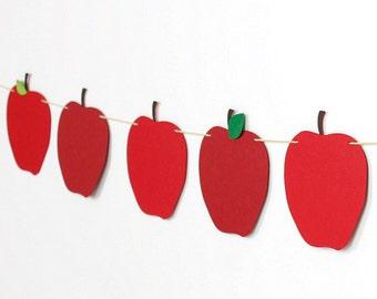 Apple Garland Garland Kit : U-String Back to School Decoration | Handcrafted Teacher Banner | Apple Picking Bunting | Snow White Birthday