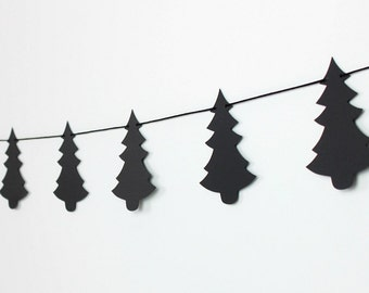 Black Pine Tree Garland : Handcrafted Lumberjack Birthday Decoration | Camping Birthday | Alpine | Nordic | Tree Silhouette | Christmas Tree
