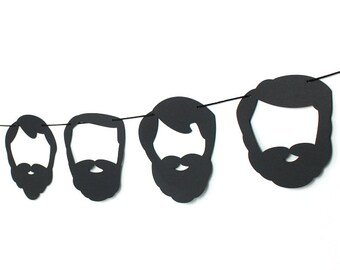 Beard Garland Kit - Black Silhouette : U-String Facial Hair Bunting | Lumberjack Party Decoration | Photo Booth Decoration | Whiskers