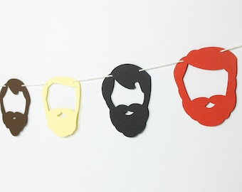 Beard Garland Kit - Colored : U-String Facial Hair Bunting | Lumberjack Party Decoration | Whiskers Photo Booth Decor | Little Man Party