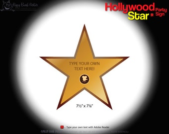 hollywood star favor tags print at home walk of fame thank etsy