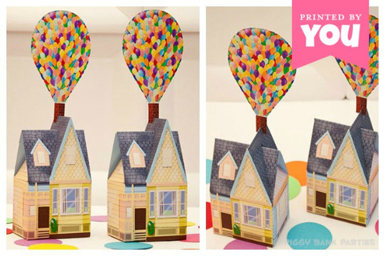 Balloon House Favor Box Small : Print at Home UP Inspired image 0