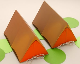 Campout Tent Favor Box - Orange & Khaki : Print at Home Camping Favor Gift Box   Camp   DIY Printable   Digital File - Instant Download