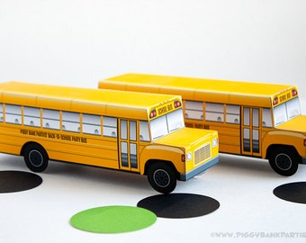 School Bus Favor Box : Print at Home Full-Color Template   Back to School   Bus Driver   Wheels on the Bus   Digital File   Instant Download