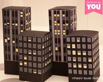 Nighttime City Buildings Favor Box Set: Print at Home Full-Color Digital Templates   DIY Printable   Digital File   Instant Download
