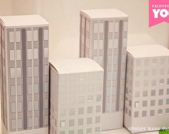 City Buildings Favor Box (Daytime): DIY Printable PDF - Instant Download