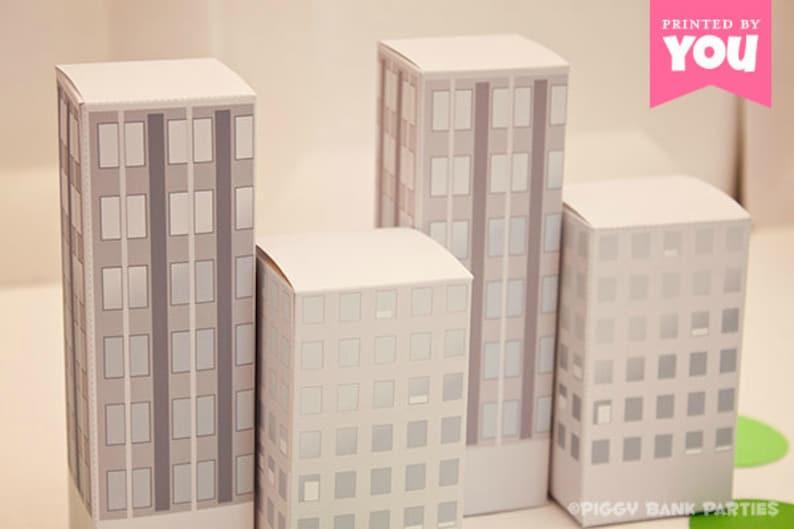 City Buildings Favor Box Daytime: DIY Printable PDF  image 0