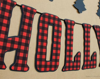 Lumberjack Plaid Banner : Handcrafted Custom Phrase Banner | Camping Birthday Party Decoration | Log Cabin | Wood | Red Buffalo Check Sign
