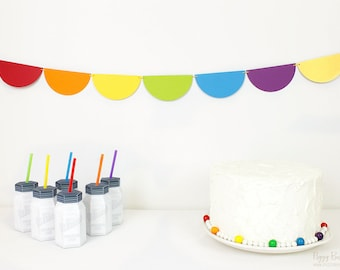 Rainbow Garland Kit : U-String Half Circle Bunting | Unicorn Party Decoration | Art Party | Wizard of Oz | St. Patrick's Day Photo Prop