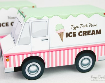 Ice Cream Truck Favor Box : Print at Home Full-Color Template   Cone Food Truck Gift Box   DIY Printable   Digital File - Instant Download