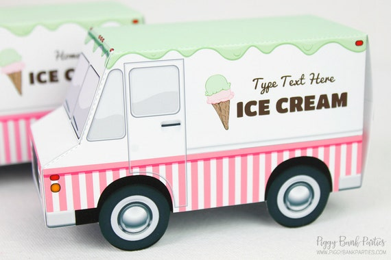 ice cream truck favor box print at home full color template etsy