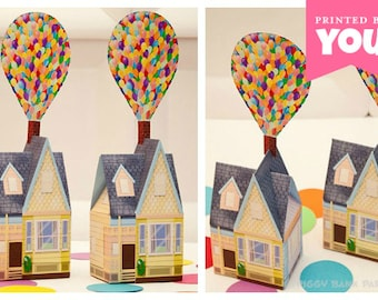 Balloon House Favor Box - Large : Print at Home Full-Color Template   UP Inspired House   DIY Printable   Digital File - Instant Download