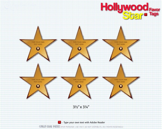 Hollywood Star Favor Tags Print At Home Walk Of Fame Thank You Tag
