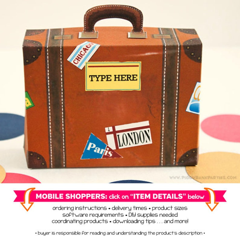Vintage Suitcase Favor Box  Small with Yellow Label : Print image 0