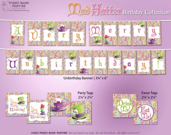 Mad Hatter Birthday Collection : Print at Home Alice in Wonderland Inspired Party Decorations | Printable | Digital Files - INSTANT DOWNLOAD