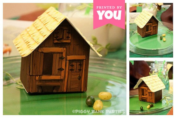 COTTAGE Favor Box : Print at Home Full-Color Template | Rustic