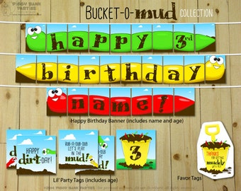 Bucket of Mud Collection - DIY Printable Dirt and Worm Party Decorations | Birthday Decoration | Mud Pie