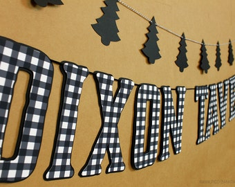 Lumberjack Plaid Banner : Handcrafted Custom Phrase Banner | Camping Birthday Party Decoration | Wood | Log Cabin | White Buffalo Check Sign