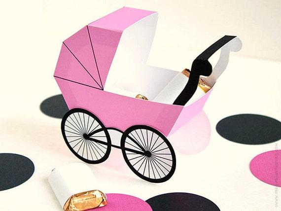 Baby Carriage Favor Box Pink Diy Printable Baby Buggy Gift Box