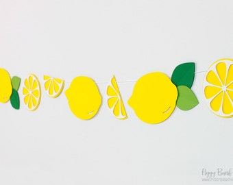 Lemon Garland : Handcrafted Lemonade Stand Decoration | Pucker Up Party Decoration | Lemon Slice Banner | Citrus Garland