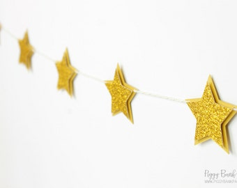 Gold Glitter Star Garland : Handcrafted Twinkle Twinkle Little Star Party Decoration | First Birthday | Baby Shower | Nursery | Sleepover