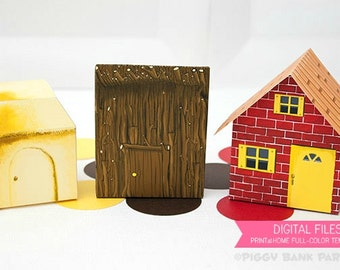 Three Little Pigs Brick, Stick and Straw House Favor Box Set : Print at Home Full-Color Template   3 Little Pigs Gift Box - Instant Download
