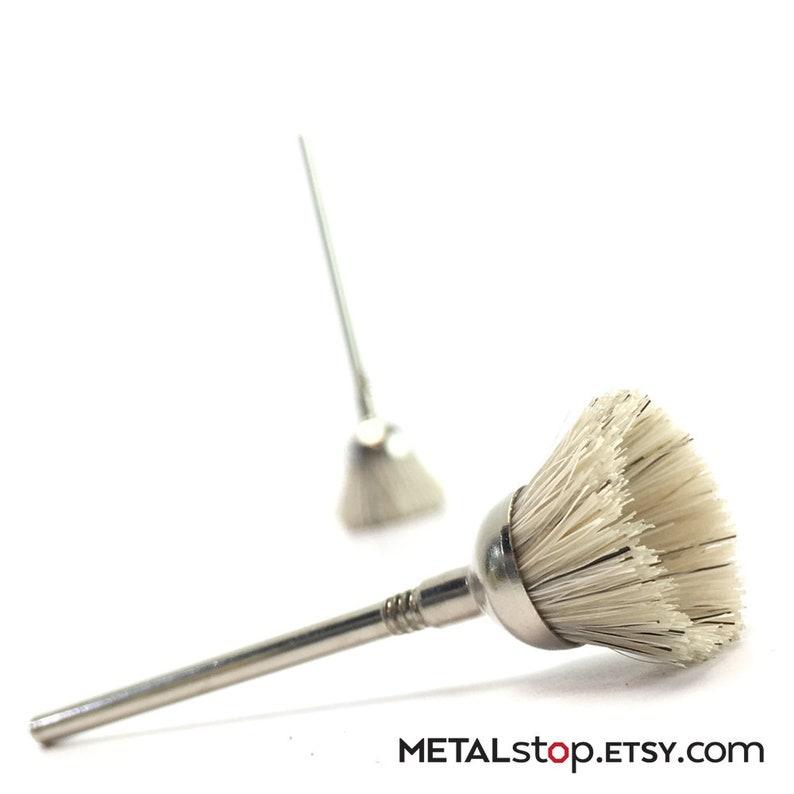 Twelve 12 Bristle Cup Brush Bits on 332 mandrel Stiff 12 dia Stiff bristles. Inverted cone bristle brush for working on larger areas