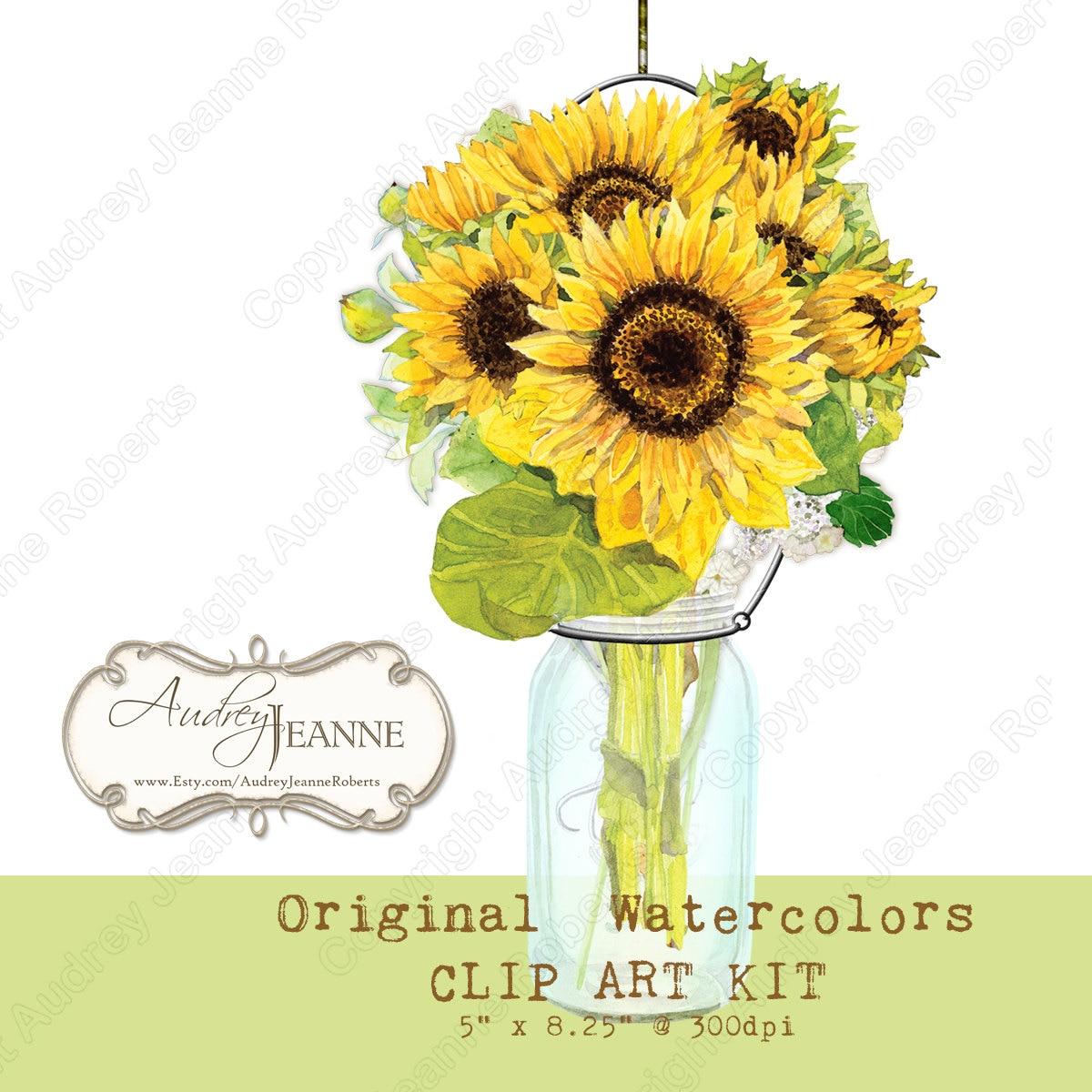 Watercolor Digital Sunflower Country Rustic Mason Jars ...