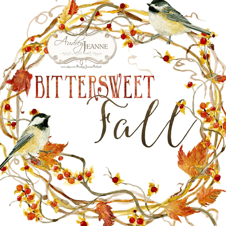 Aquarell Herbstkranz, digitale ClipArt, Herbst Blätter Cliparts ...