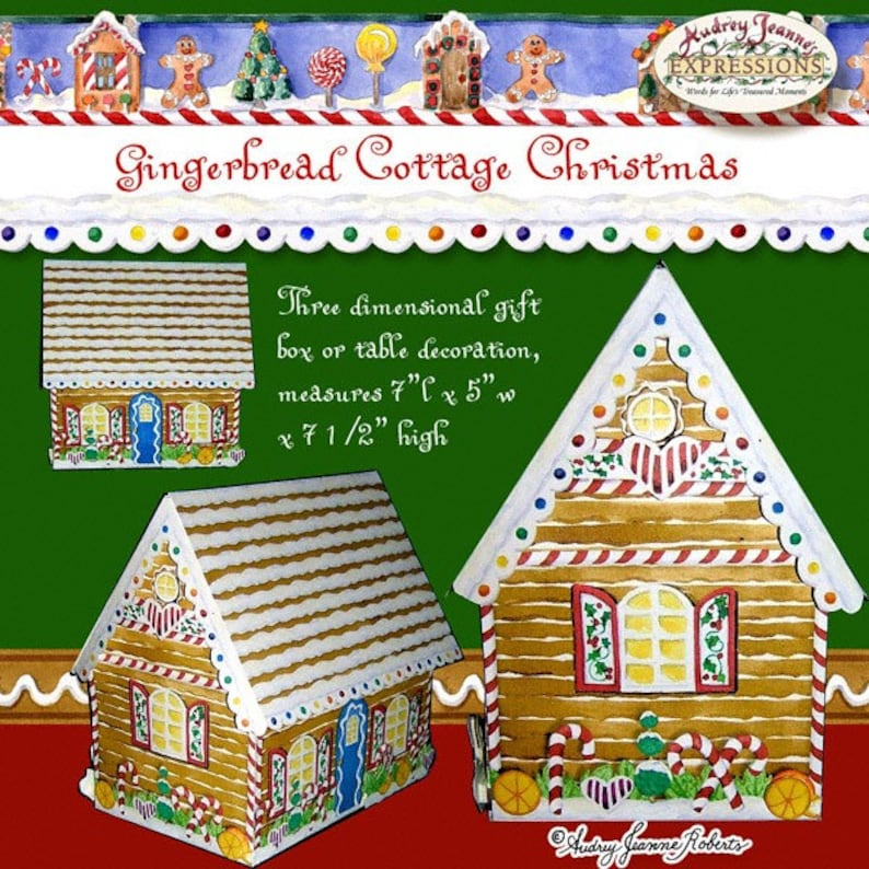 Christmas Gingerbread House Kit.Christmas Gingerbread House Village Ajrob 108 Cottage Diy Winter Holiday Kit Print The Pages Cut And Glue Cookies Candy Cane Peppermint