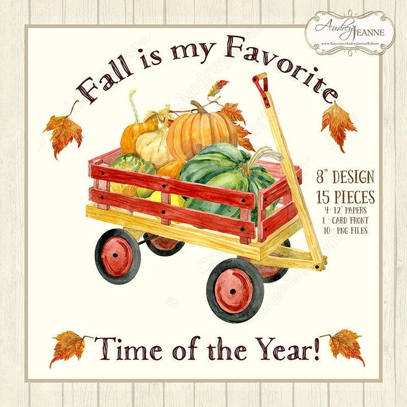 Watercolor Fall Harvest Digital Clip Art Pumpkin Autumn   Etsy