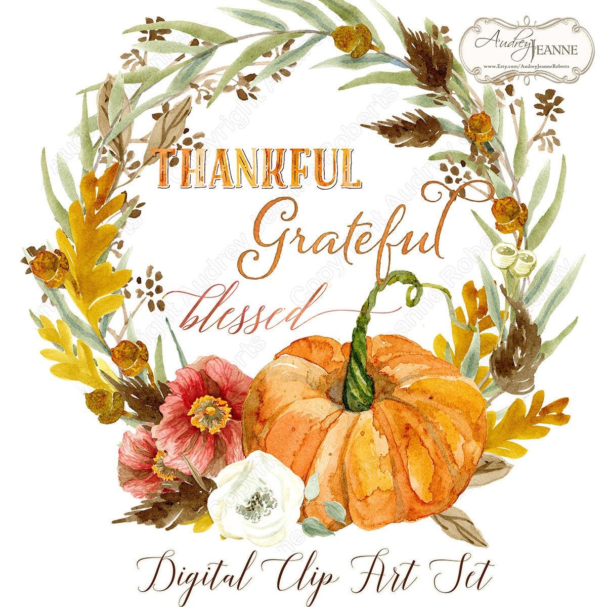 Watercolor Fall Wreath Digital Clip Art Pumpkin Autumn   Etsy