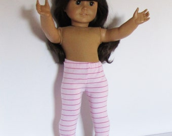 """Pink and White Striped Leggings Made to fit Dolls Like Gotz or American Girl -  Doll Clothes 18"""""""