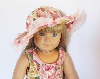 """Pink Flowers and Lace Dress with Lacey Hat Fits American Girl Doll Clothes 18"""""""