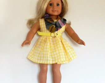 """Complete Outfit Yellow Dress, Belt, Infinity Scarf, Panties and Sandals made to fit  American Girl - Doll Clothes 18"""""""