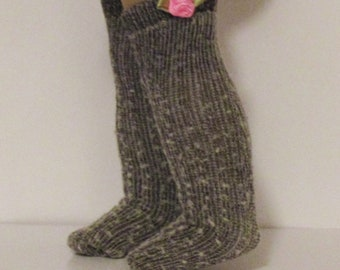 Woolen Thigh High Socks with Pink Roses made to fit 18 inch American Girl Doll Clothes