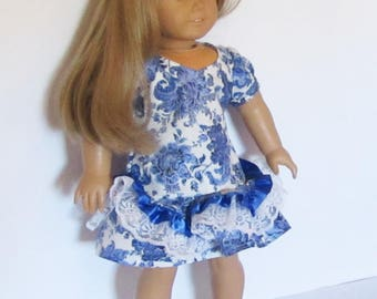 """Blue and White Flowers Drop Waist Dress with Lace Fits American Girl Doll Clothes 18"""""""