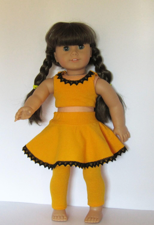"Black Top /& Orange /& Black Leggings fits 18/"" American Girl Doll Clothes"