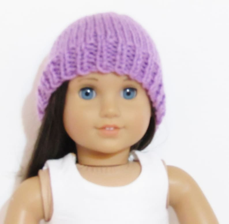 Purple Hand Knit Beanie Cap Hat made to fit American Girl Doll Clothes 18