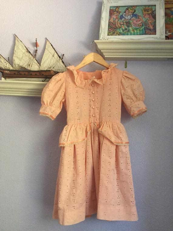 Vintage Girls Peplum Eyelet dress
