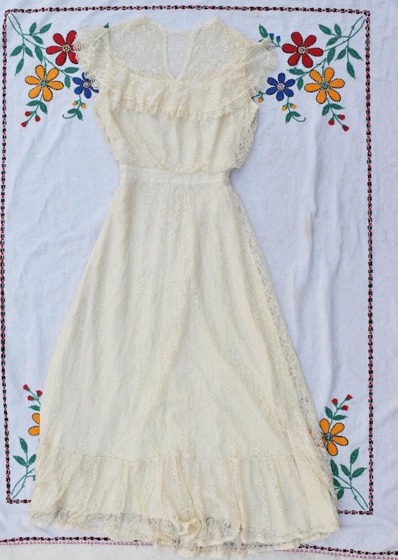 Gunne Sax Lace Wedding Dress Small - image 2