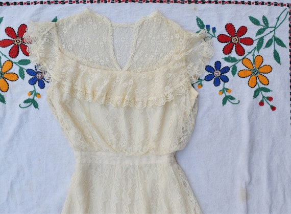 Gunne Sax Lace Wedding Dress Small - image 1