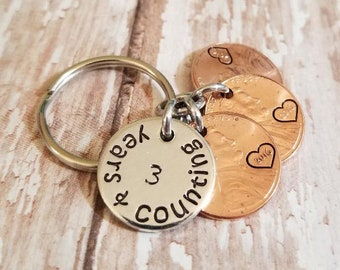 Celebrations Occasions 3 Years And Counting 3rd Wedding Anniversary Gift Husband Wife Keychain Home Furniture Diy Ot Baieducotentin Fr