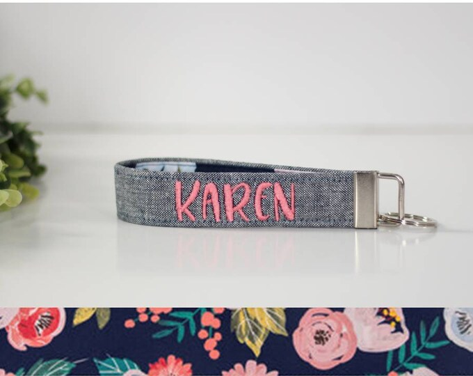 Blue Embroidered Wristlet Keychain in Navy Coral Floral; Custom Key Fob in Blue and Pink Flower Blue Floral Personalized Key Fob PREORDER