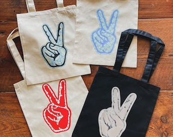 Market Bag Peace Sign Tote Bag Gift for Her Hippy Tote Organic Cotton Shopping Bag Grocery Bag Love Symbol Reusable Bag Gift Idea