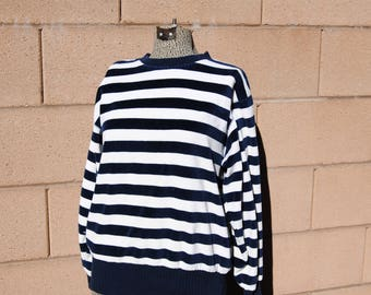 Vintage 1980's Navy Blue and White Nautical Striped Velour Shirt