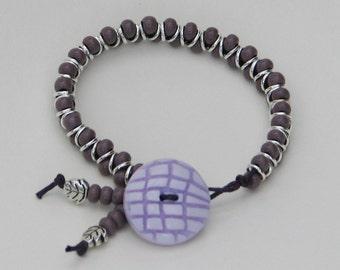 Pretty Purples Stackable Bracelet - purple lilac button bracelet glass stackable beaded