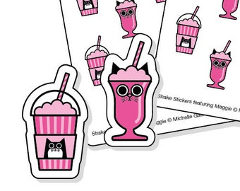 Milkshake planner stickers for cat lovers - 48 pink kiss-cut shake or Frappé tracker stickers
